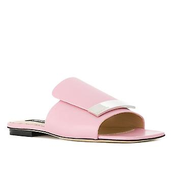 Sergio Rossi flats slippers in light pink leather
