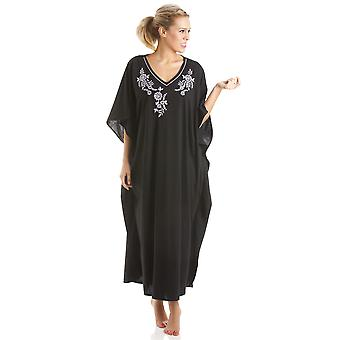 Ladies One Size Kaftans Embroidered Neckline Lace Edging Full Length 811