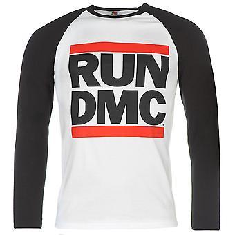 Mens officiels Run DMC Raglan Top Casual imprimé manches longues Crew Neck Tee