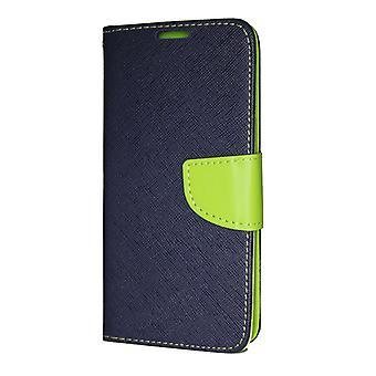 Huawei P20 Pro Wallet Pouch Fancy Case + Wrist Strap Navy-Lime