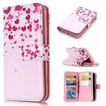 iPhone X / XS Fodral 9 Kortplatser - Hearts