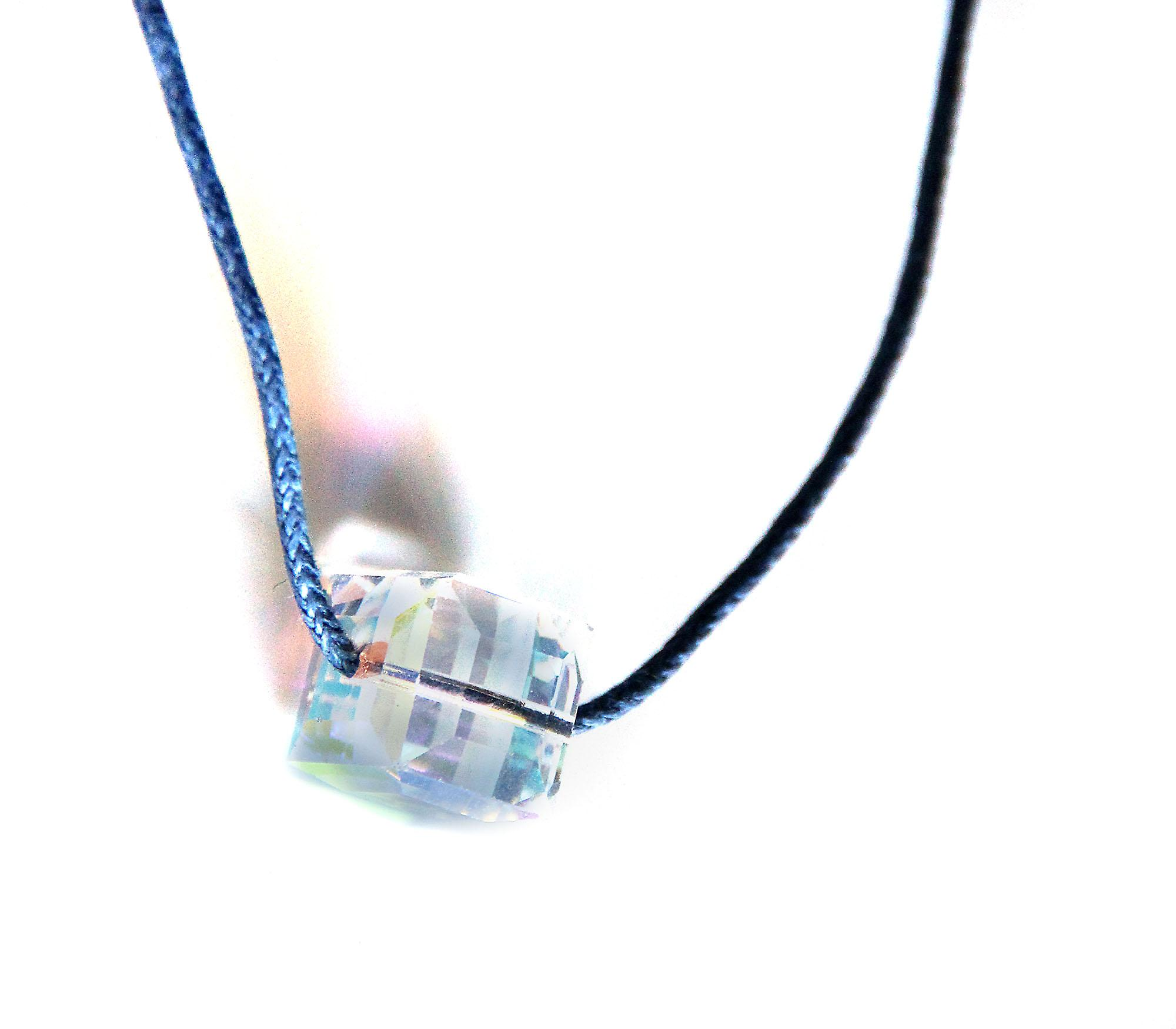 Waooh - Jewelry - Swarovski / pendant pearl white square with blue reflection waxed cord