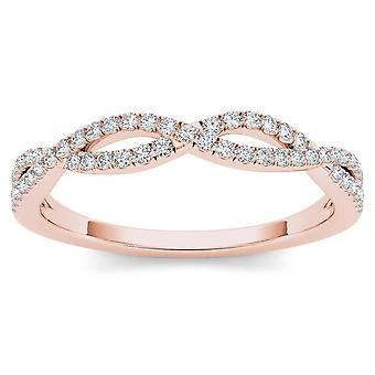 IGI Certified 10k Rose Gold 0.15 Ct Diamond Criss-Cross Fashion Anniversary Ring