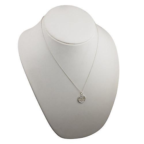 Silver 11mm pierced Libra Zodiac Pendant with a rolo Chain 20 inches