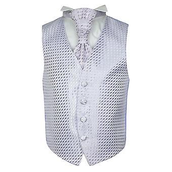 Boys Lilac Wedding Waistcoat Cravat Hanky Set