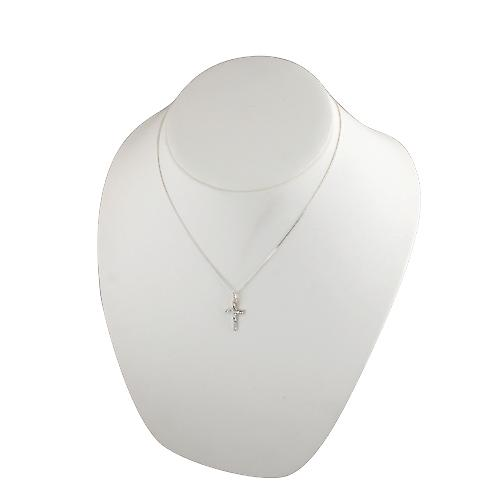 Silver 20x13mm hand engraved solid block Cross with a curb Chain 18 inches