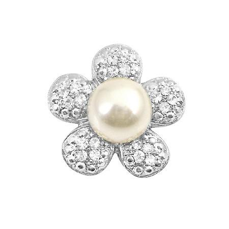 Flower Round Brooch Sparkling Petals Center Pearls Brooch Pin Vintage