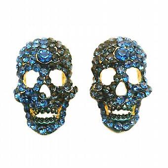可怕的头骨耳环蓝宝石蓝水晶耳环