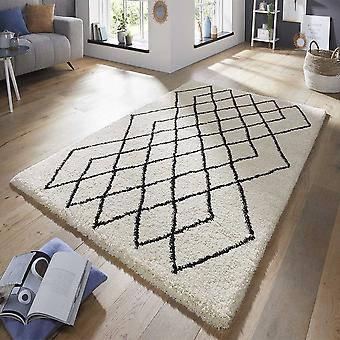 Design velour deep-pile carpet touch cream black