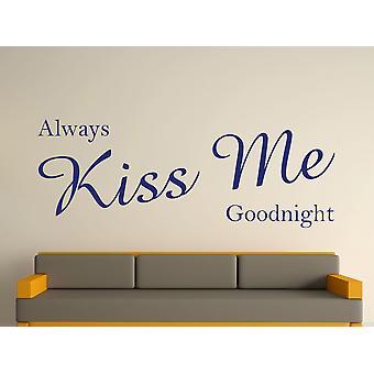 Always Kiss Me Goodnight Wall Art Sticker - Ultra Blue