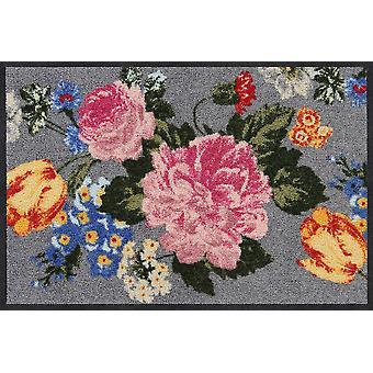 Salon lion blooming flower washable floor mat door rug runner