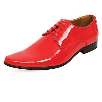 Dobell herr röd klänning skor Patent modern stil spetsad