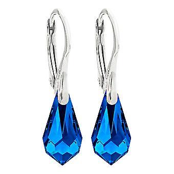 Swarovski Elements 11mm eleganta safirblått droppe hängande kristall örhängen