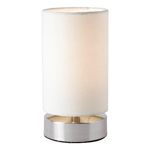 Endon COLLIERS-TLCR Colliers Modern Nickle Touch Lamp With Cream Cotton Shade (sold as pair)