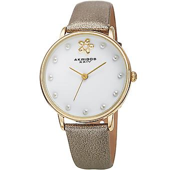 Akirbos XXIV AK1084YG Women's Quartz Pearl Accented Leather Strap Watch