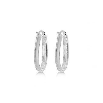 Eternity Sterling Silver Stardust Oval Creole Earrings