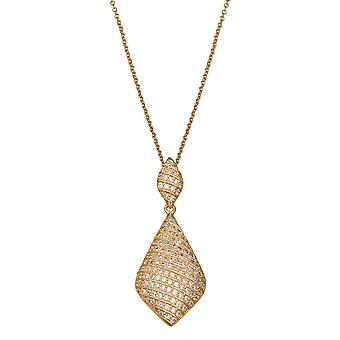 PENDANT WITH CHAIN 925 SILVER GOLDPLATED PAVE IN LINES ZIRCONIUM 276 STONES