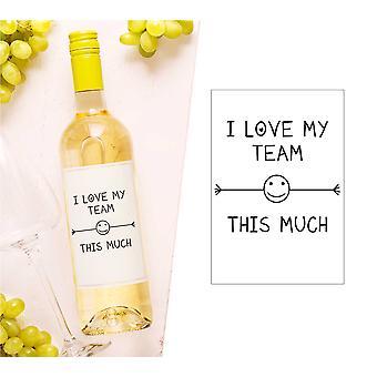 Jeg elsker mitt team så mye vinflaske Label