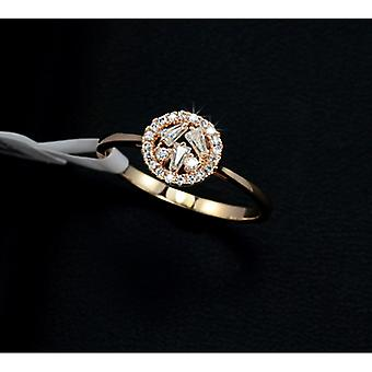 18K Gold Plated Cubic Zirconia Studded Flower Ring