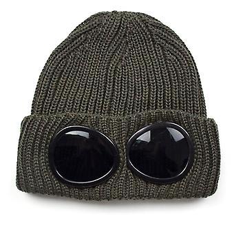 CP Company Extra Fine Merino Wool Goggle Winter Beanie Khaki 661