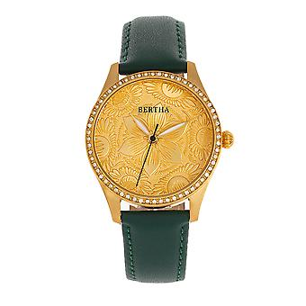 Bertha Dixie Floral Engraved Leather-Band Watch - Green