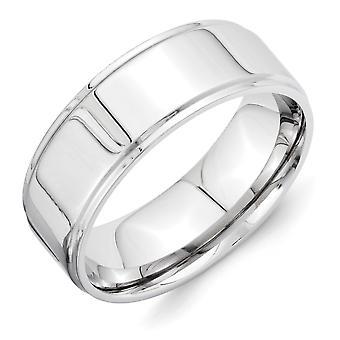 Vitalium Engravable polido 8mm estriadas borda plana banda anel - 7,1 gramas - tamanho 10