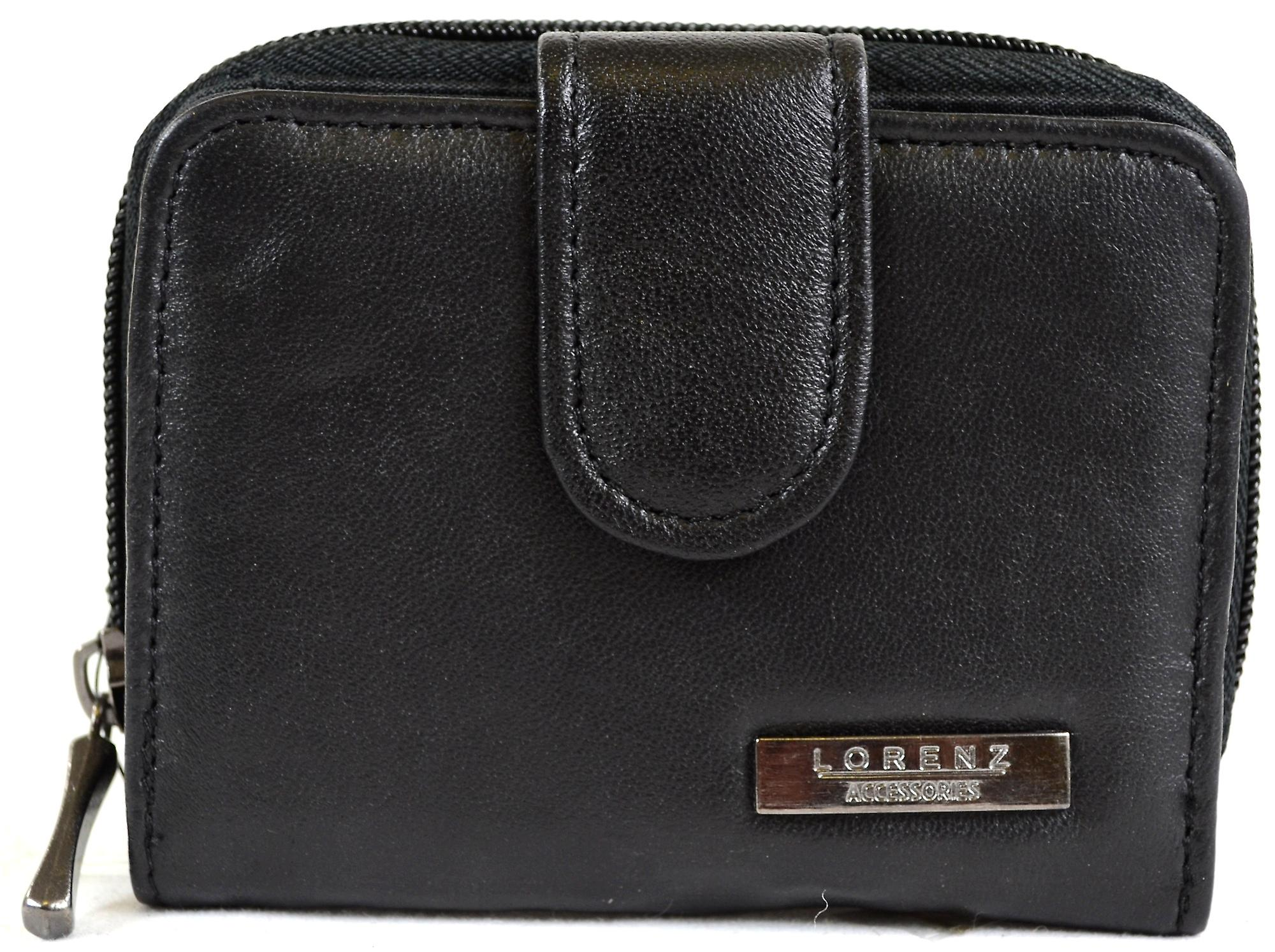 Damen Super weiches Nappa Leder Bi-Fold Geldbörse mit Reißverschluss Runde Tasche