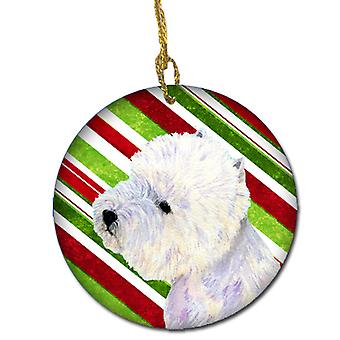 Westie Candy Cane Holiday Christmas Ceramic Ornament LH9225