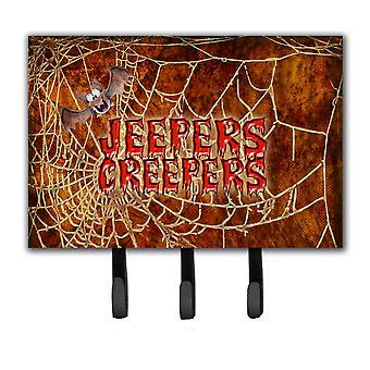 Jeepers Creepers with Bat and Spider web Halloween Leash or Key Holder