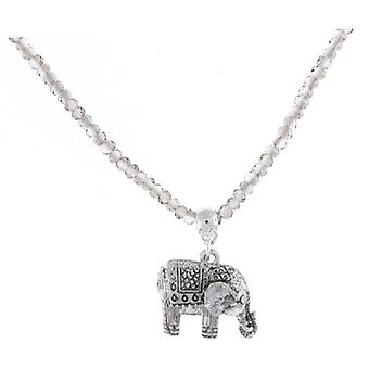 Silver Plated Detailed Indian Elephant Pendant Necklace Beaded Chain