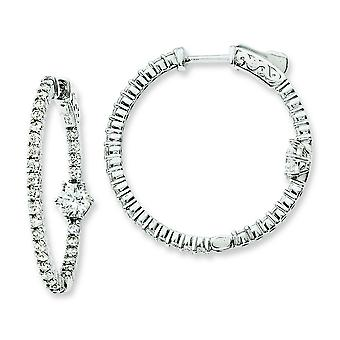 Sterling zilveren Rhodium Plated CZ In- en uitzoomen Hoop Earrings Hoop Earrings