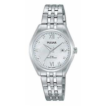Pulsar Ladies Stainless Steel Crystal Set Pearl Dial PH7453X1 Watch