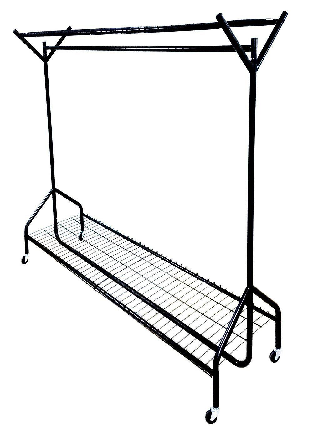 5ft long x 5ft Clothes Black Heavy Duty Hanging Clothes 5ft Garment Rail with Shoe Rack Shelf and Hat Stand c7f8b0