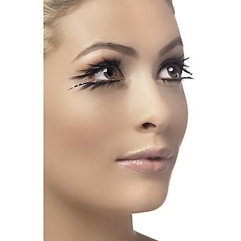Eyelashes black top and bottom double eye lashes with glue