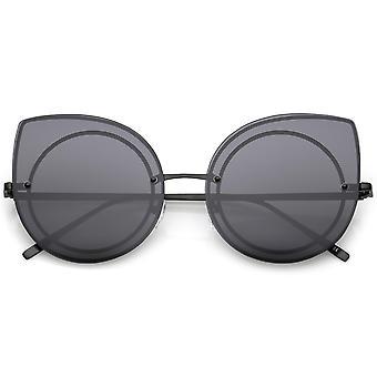 Oversize montuurloze Cat Eye zonnebril met neutrale kleur vlakke Lens slanke armen 64mm