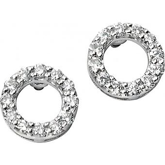 Elements Gold Exquisite 9ct White Gold Pave Diamond Open Circle Earrings - Clear/White Gold