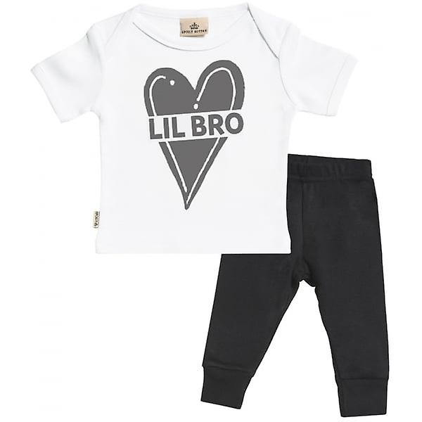 Spoilt Rotten Lil Bro Baby T-Shirt & Baby Jersey Trousers Outfit Set