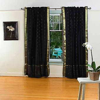 Black Rod Pocket  Sheer Sari Curtain / Drape / Panel  - Pair
