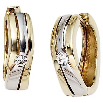 Hoops 333 gold yellow gold part rhodium plated 2 cubic zirconia earrings Klappkreolen