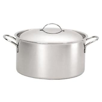 De Buyer PRIORITY stewpan with stainless steel handles, and stainless steel rounded lid