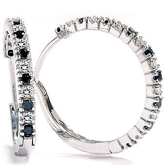 1 / 2ct schwarz & White Diamond Reifen 14K White Gold
