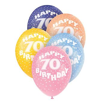 Unique Party 12 Inch 70th Assorted Latex Balloons (Pack Of 5)