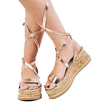 Snøre flettet Cork kile Flat svært høye espadrill sandaler Rose Gold