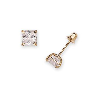 14k Yellow Gold 5mm Square Cubic Zirconia Screw-Back Earrings