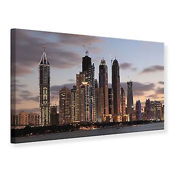 Leinwand drucken Skyline Dubai bei Sonnenuntergang
