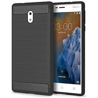 Nokia 3 Carbon Fibre TPU Case Silicone Cover - zwart