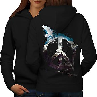 Peace Pigeon Cool Fashion Women BlackHoodie Back | Wellcoda