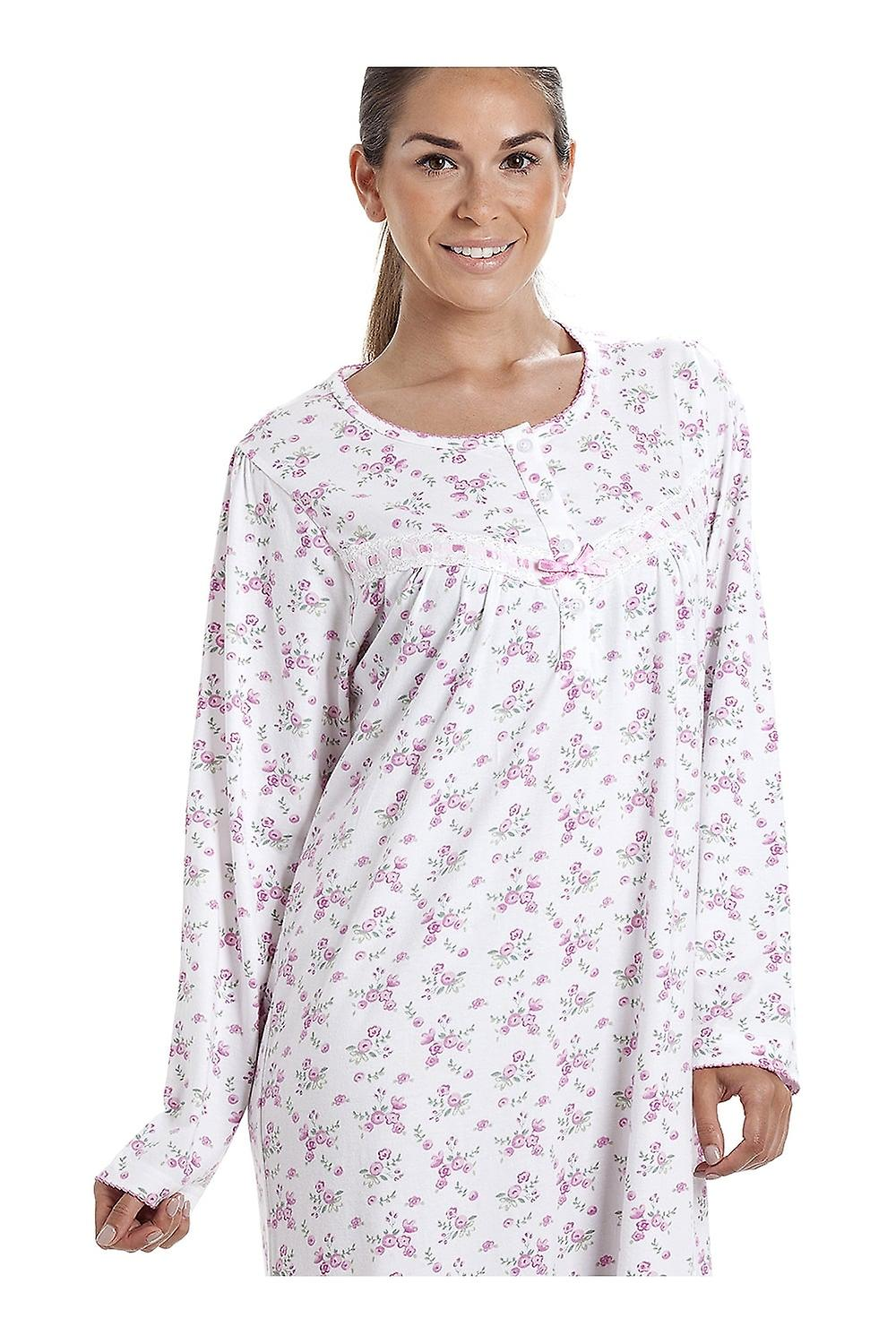 39d2319ff0 Camille Classic Long Sleeve Pink Floral Print 100% Cotton White Nightdress