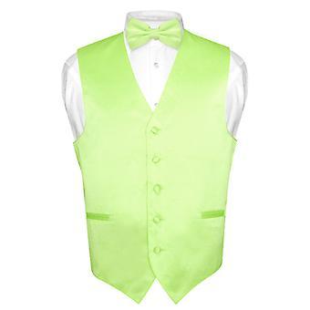 Men's Dress Vest & BowTie Solid Bow Tie Set for Suit or Tuxedo