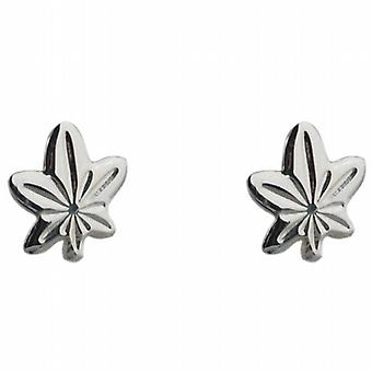 Zilveren 9x8mm maple leaf stud Earrings